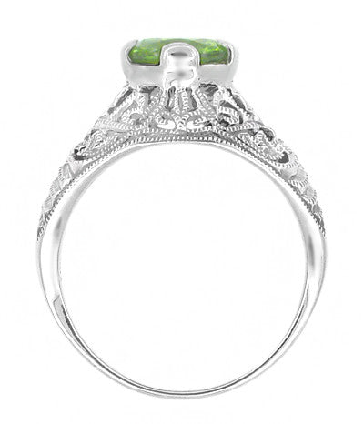 Edwardian Peridot Filigree Ring in 14 Karat White Gold - Item: R712PER - Image: 1