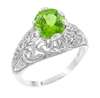 Edwardian Peridot Filigree Ring in 14 Karat White Gold
