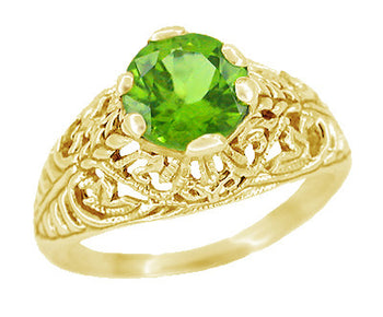 Peridot Filigree Edwardian Engagement Ring in 14 Karat Yellow Gold