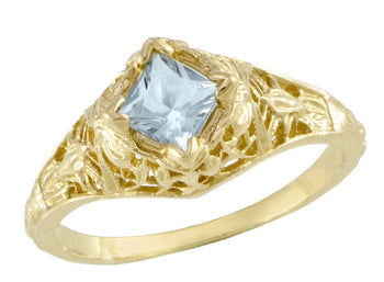 Edwardian Floral Filigree Square Aquamarine Engagement Ring in 14K Yellow Gold