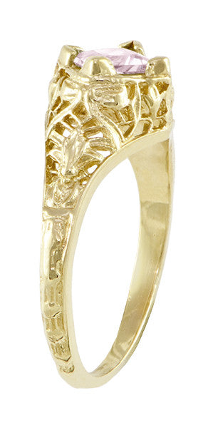 Edwardian Filigree Princess Cut Morganite Engagement Ring in 14K Yellow Gold - Item: R713YM - Image: 2