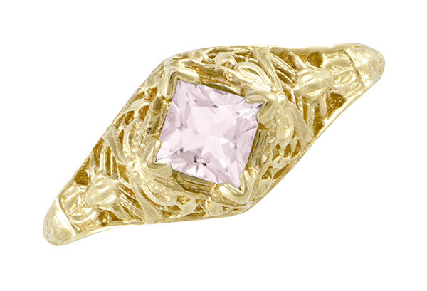 Edwardian Filigree Princess Cut Morganite Engagement Ring in 14K Yellow Gold - Item: R713YM - Image: 4