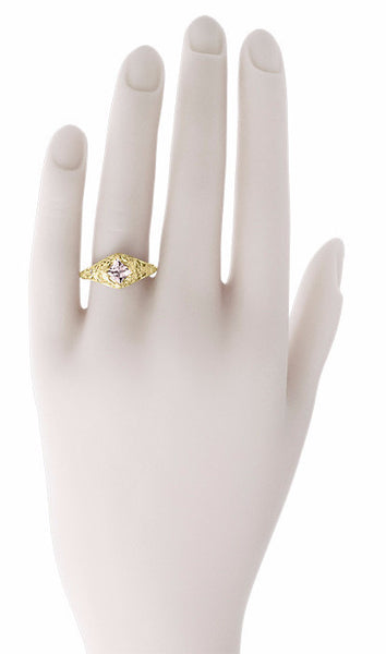 Edwardian Filigree Princess Cut Morganite Engagement Ring in 14K Yellow Gold - Item: R713YM - Image: 5