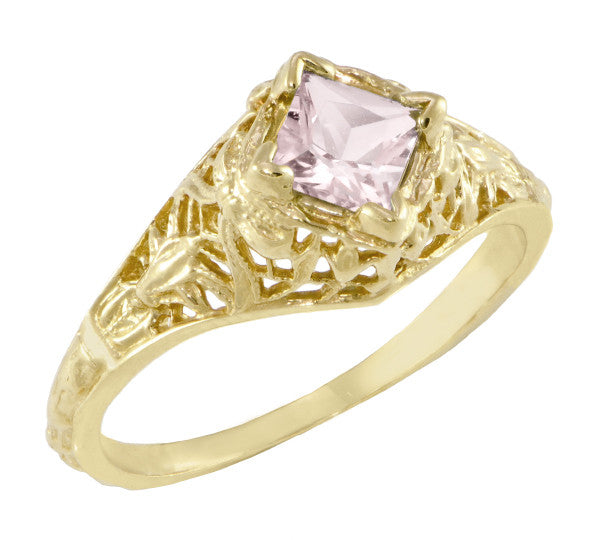 Edwardian Filigree Princess Cut Morganite Engagement Ring in 14K Yellow Gold - Item: R713YM - Image: 1