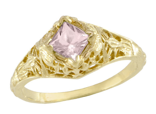 Edwardian Filigree Princess Cut Morganite Engagement Ring in 14K Yellow Gold