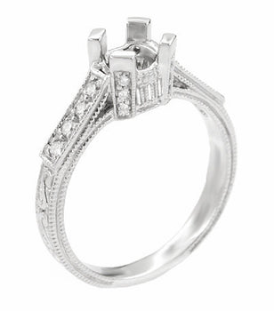 Art Deco Castle 1/3 Carat Diamond Filigree Engagement Ring Semi-Mount in 18 Karat White Gold