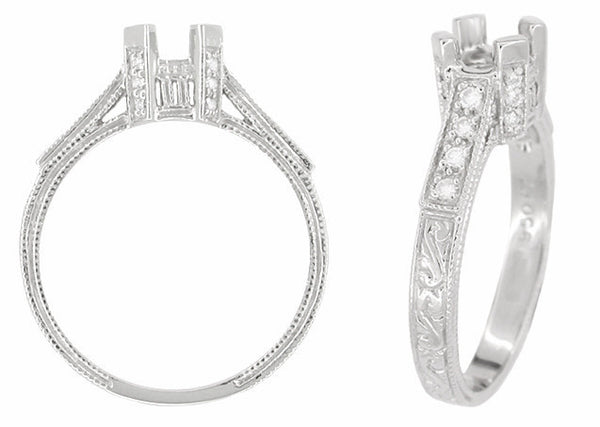Art Deco 1/3 Carat Platinum and Diamond Filigree Citadel Engagement Ring Setting - Item: R714P - Image: 1