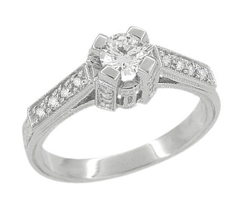 Art Deco 1/3 Carat Diamond Castle Engagement Ring in Platinum