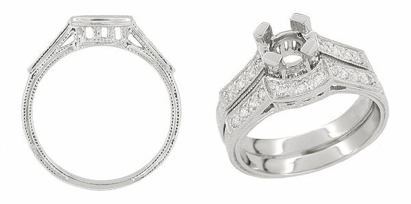 Art Deco 1/3 Carat Diamond Filigree Palladium Engagement Ring Mounting - Item: R714PDM - Image: 2