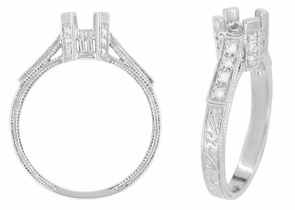 Art Deco 1/3 Carat Diamond Filigree Palladium Engagement Ring Mounting - Item: R714PDM - Image: 1