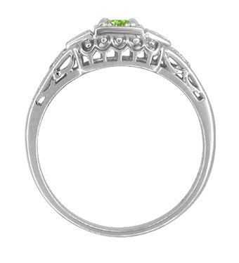 Art Deco Filigree Demantoid Garnet Engagement Ring in Platinum - Item: R715P - Image: 1