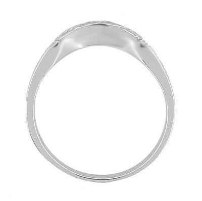 Art Deco Curved Wedding Band in 18 Karat White Gold - Item: R717 - Image: 4