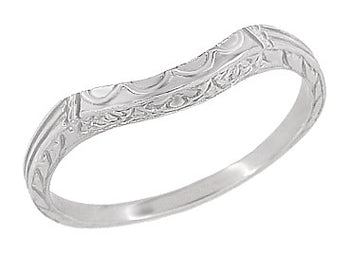 Art Deco Curved Wedding Band in Platinum