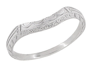 Art Deco Flowers, Wheat & Scrolls Hugger Wedding Band in Platinum