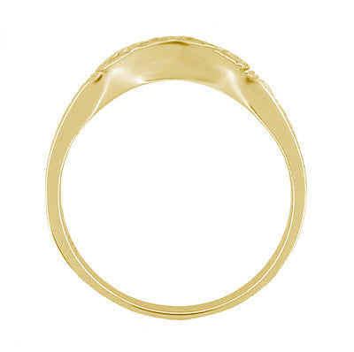 Art Deco Curved Wedding Band in 18 Karat Yellow Gold - Item: R717Y - Image: 4