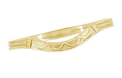 Art Deco Curved Wedding Band in 18 Karat Yellow Gold - Item: R717Y - Image: 1