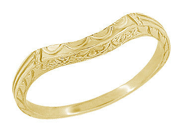 Art Deco Sculptural Curved Wedding Band in 18 Karat or 14 Karat Yellow Gold