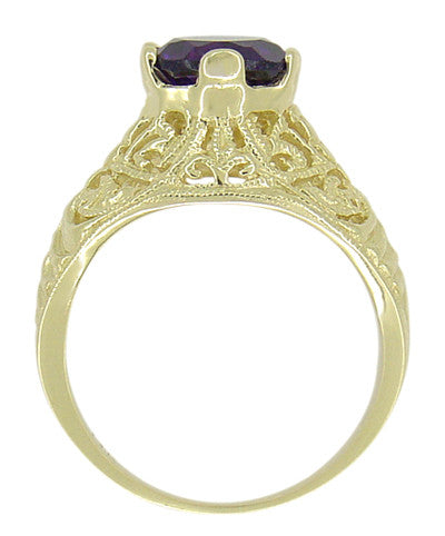 Edwardian 1.25 Carat Amethyst Filigree Ring in 14 Karat Yellow Gold - Item: R718 - Image: 2