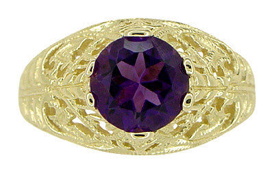 Edwardian 1.25 Carat Amethyst Filigree Ring in 14 Karat Yellow Gold - Item: R718 - Image: 4