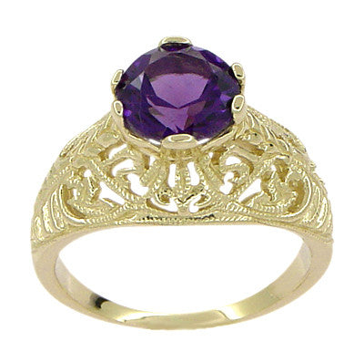 Edwardian 1.25 Carat Amethyst Filigree Ring in 14 Karat Yellow Gold - Item: R718 - Image: 1