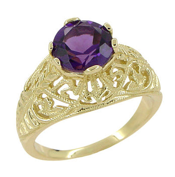 Edwardian 1.25 Carat Amethyst Filigree Ring in 14 Karat Yellow Gold