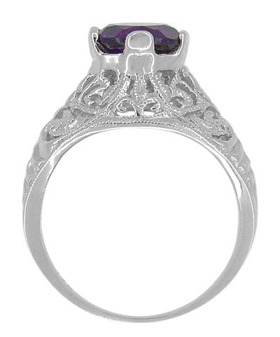 Edwardian Amethyst Filigree Ring in 14 Karat White Gold - Item: R718W - Image: 2