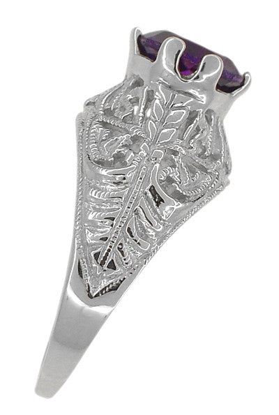 Edwardian Amethyst Filigree Ring in 14 Karat White Gold - Item: R718W - Image: 3