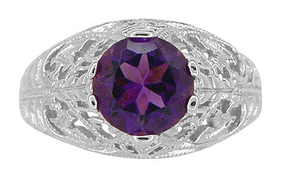 Edwardian Amethyst Filigree Ring in 14 Karat White Gold - Item: R718W - Image: 4
