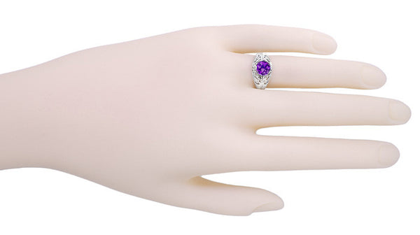 Edwardian Amethyst Filigree Ring in 14 Karat White Gold - Item: R718W - Image: 5