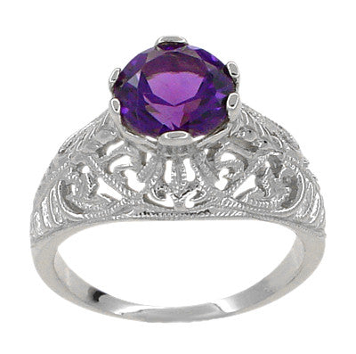 Edwardian Amethyst Filigree Ring in 14 Karat White Gold - Item: R718W - Image: 1