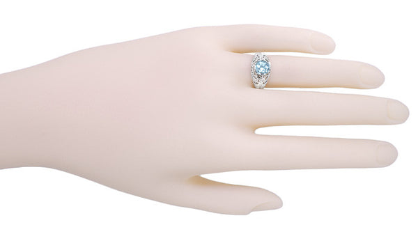 Edwardian Aquamarine Filigree Ring in 14 Karat White Gold - Item: R721 - Image: 2