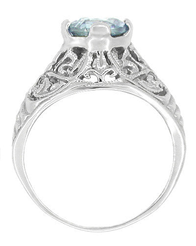 Edwardian Aquamarine Filigree Ring in 14 Karat White Gold - Item: R721 - Image: 1