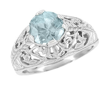 Edwardian Aquamarine Filigree Ring in 14 Karat White Gold