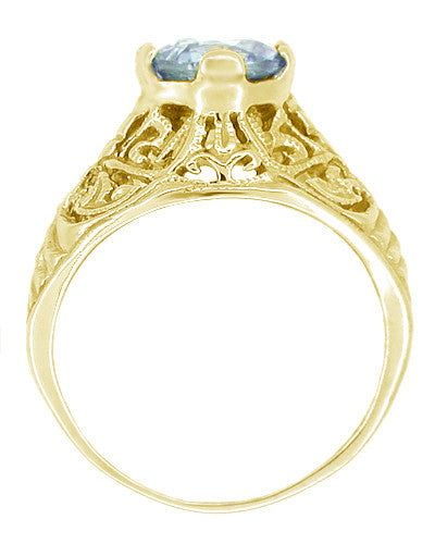 Edwardian Aquamarine Filigree Ring in 14 Karat Yellow Gold - Item: R721Y - Image: 1