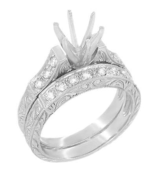 Art Deco Carved Scrolls 3/4 Carat Diamond Engagement Ring Setting and Wedding Ring in 18 Karat White Gold
