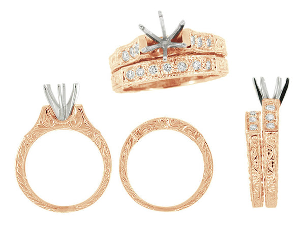Art Deco Antique Pink Gold Bridal Ring Set with 3/4 Ct Engagement Ring Setting for a Round Diamond and Matching Diamond Wedding Band with Hand Engraved Scroll Pattern - R724R