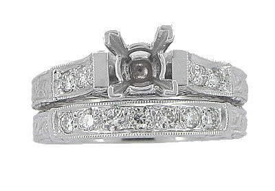 Art Deco Scrolls 1/2 Carat Princess Cut Diamond Engagement Ring Setting and Wedding Ring in 18 Karat White Gold - Item: R725 - Image: 3
