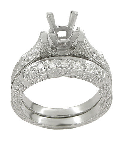 Art Deco Engraved Scrolls 1/2 Carat Princess Cut Diamond Engagement Ring Setting and Matching Wedding Ring in Platinum - Item: R725P - Image: 1