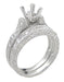 Art Deco Engraved Scrolls 1/2 Carat Princess Cut Diamond Engagement Ring Setting and Matching Wedding Ring in Platinum