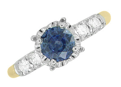 1950's Vintage Style Mid Century Cornflower Blue Sapphire Engagement Ring with Side Diamonds in Mixed Metals - 14K Yellow and White Gold - Item: R728 - Image: 2
