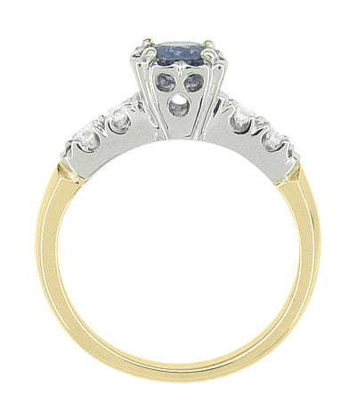 1950's Vintage Style Mid Century Cornflower Blue Sapphire Engagement Ring with Side Diamonds in Mixed Metals - 14K Yellow and White Gold - Item: R728 - Image: 3