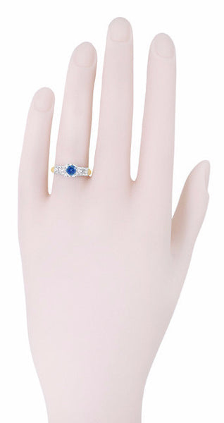 1950's Vintage Style Mid Century Cornflower Blue Sapphire Engagement Ring with Side Diamonds in Mixed Metals - 14K Yellow and White Gold - Item: R728 - Image: 4