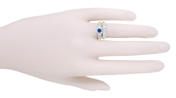 1950's Vintage Style Mid Century Cornflower Blue Sapphire Engagement Ring with Side Diamonds in Mixed Metals - 14K Yellow and White Gold - Item: R728 - Image: 5