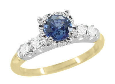1950's Vintage Style Mid Century Cornflower Blue Sapphire Engagement Ring in 14K Yellow and White Gold with Side Diamonds