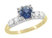 1950's Vintage Style Mid Century Cornflower Blue Sapphire Engagement Ring with Side Diamonds in Mixed Metals - 14K Yellow and White Gold