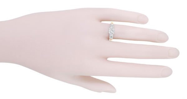 Mid Century Diamond Engagement Ring in Two Tone 14 Karat White and Rose ( Pink ) Gold - Item: R728RD - Image: 4