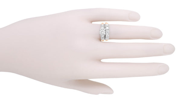 Mid Century Diamond Engagement Ring in Two Tone 14 Karat White and Rose ( Pink ) Gold - Item: R728RD - Image: 5