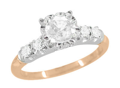 Mid Century Diamond Engagement Ring in Two Tone 14 Karat White and Rose ( Pink ) Gold - Item: R728RD - Image: 1