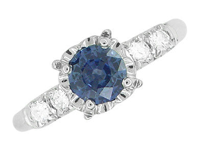 1950's Vintage Inspired Cornflower Blue Sapphire Engagement Ring in 14 Karat White Gold with Diamonds - Item: R728W - Image: 2
