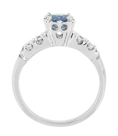 1950's Vintage Inspired Cornflower Blue Sapphire Engagement Ring in 14 Karat White Gold with Diamonds - Item: R728W - Image: 3